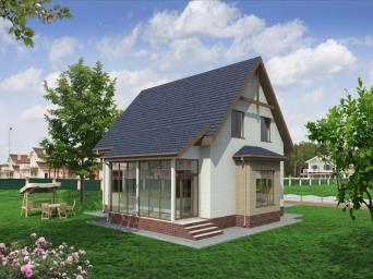 Проект индивидуального двухсекционного дачного дома с мансардой