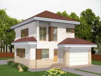 Проект индивидуального двухэтажного жилого дома с подвалом и большим гаражом