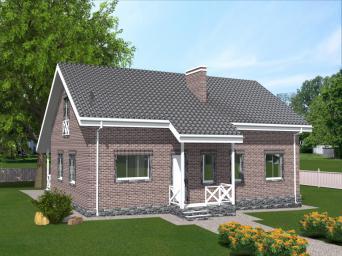 Проект индивидуального одноэтажного жилого дома с широкой террасой
